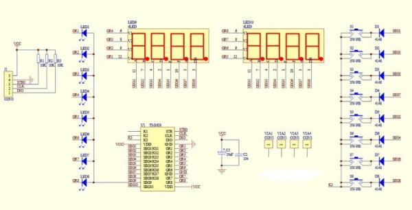 TM1638 8-Digit 7-Segments with 8-LEDs and 8-Push Buttons Module